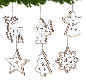 Adorfine 12 Stück Holz Christbaumschmuck Doppelschicht Weihnachtsanhänger Christbaumanhänger Holz Weihnachtsbaumschmuck Anhänger für Weihnachtskalender Verzierung Deko(Weiße) - 3