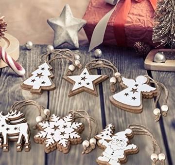 Adorfine 12 Stück Holz Christbaumschmuck Doppelschicht Weihnachtsanhänger Christbaumanhänger Holz Weihnachtsbaumschmuck Anhänger für Weihnachtskalender Verzierung Deko(Weiße) - 4