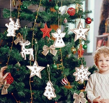 Adorfine 12 Stück Holz Christbaumschmuck Doppelschicht Weihnachtsanhänger Christbaumanhänger Holz Weihnachtsbaumschmuck Anhänger für Weihnachtskalender Verzierung Deko(Weiße) - 5