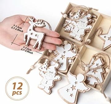 Adorfine 12 Stück Holz Christbaumschmuck Doppelschicht Weihnachtsanhänger Christbaumanhänger Holz Weihnachtsbaumschmuck Anhänger für Weihnachtskalender Verzierung Deko(Weiße) - 6