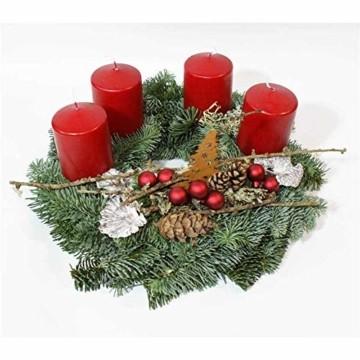 Adventskranz Adventzauber aus echter Nobilis Tanne frisch gebunden, Kerzen rot - ca. Ø 30cm - 30 cm - 2