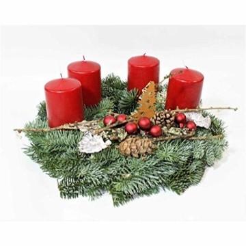 Adventskranz Adventzauber aus echter Nobilis Tanne frisch gebunden, Kerzen rot - ca. Ø 30cm - 30 cm - 3