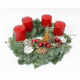 Adventskranz Adventzauber aus echter Nobilis Tanne frisch gebunden, Kerzen rot - ca. Ø 30cm - 30 cm - 1
