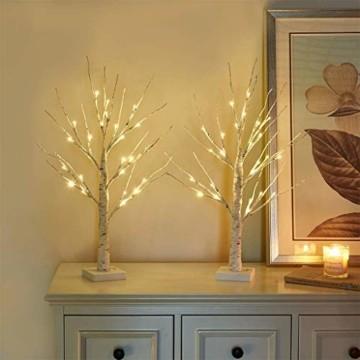 Aehma Baum Birke mit LED Beleuchtung für Weihnachten Fenster Tisch Deko künstlich Lichterbaum Lichterzweige Warmweiß Batteriebetrieb 45cm hoch - 3