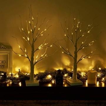 Aehma Baum Birke mit LED Beleuchtung für Weihnachten Fenster Tisch Deko künstlich Lichterbaum Lichterzweige Warmweiß Batteriebetrieb 45cm hoch - 4