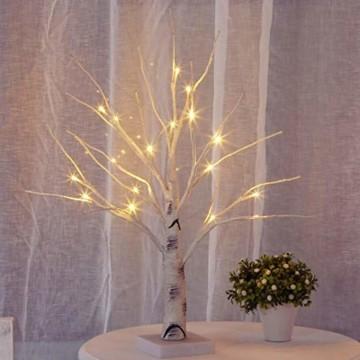 Aehma Baum Birke mit LED Beleuchtung für Weihnachten Fenster Tisch Deko künstlich Lichterbaum Lichterzweige Warmweiß Batteriebetrieb 45cm hoch - 1