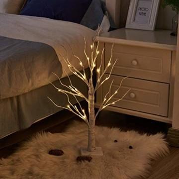 Aehma Baum Birke mit LED Beleuchtung für Weihnachten Fenster Tisch Deko künstlich Lichterbaum Lichterzweige Warmweiß Batteriebetrieb 45cm hoch - 5