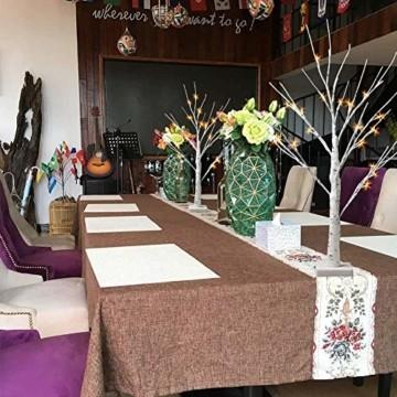 Aehma Baum Birke mit LED Beleuchtung für Weihnachten Fenster Tisch Deko künstlich Lichterbaum Lichterzweige Warmweiß Batteriebetrieb 45cm hoch - 6