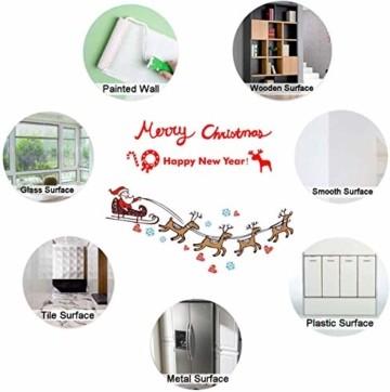 Ahsado 278 PCS Weihnachten Schneeflocke Fensterdeko Fensterbilder, Ahsado Xmas Decals Dekorationen mit Santa Claus Rentier Decals für Glas(8 Blatt) - 2