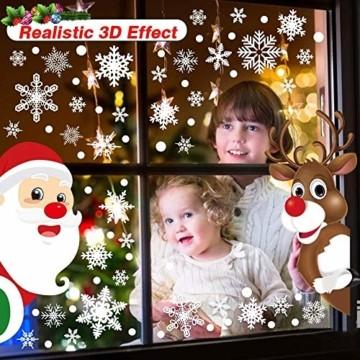 Ahsado 278 PCS Weihnachten Schneeflocke Fensterdeko Fensterbilder, Ahsado Xmas Decals Dekorationen mit Santa Claus Rentier Decals für Glas(8 Blatt) - 3
