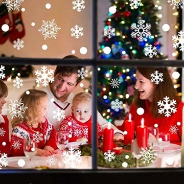 Ahsado 278 PCS Weihnachten Schneeflocke Fensterdeko Fensterbilder, Ahsado Xmas Decals Dekorationen mit Santa Claus Rentier Decals für Glas(8 Blatt) - 4