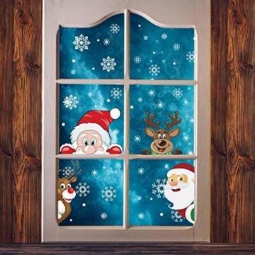 Ahsado 278 PCS Weihnachten Schneeflocke Fensterdeko Fensterbilder, Ahsado Xmas Decals Dekorationen mit Santa Claus Rentier Decals für Glas(8 Blatt) - 1