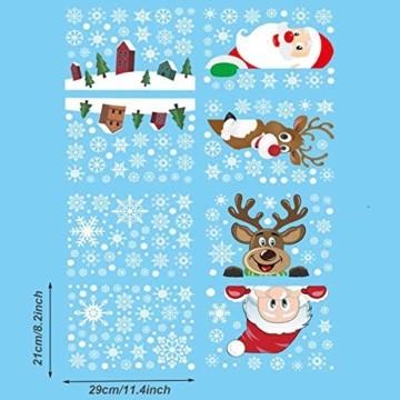 Ahsado 278 PCS Weihnachten Schneeflocke Fensterdeko Fensterbilder, Ahsado Xmas Decals Dekorationen mit Santa Claus Rentier Decals für Glas(8 Blatt) - 6