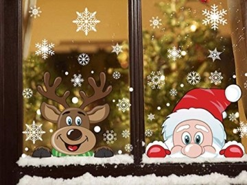 Ahsado 278 PCS Weihnachten Schneeflocke Fensterdeko Fensterbilder, Ahsado Xmas Decals Dekorationen mit Santa Claus Rentier Decals für Glas(8 Blatt) - 7