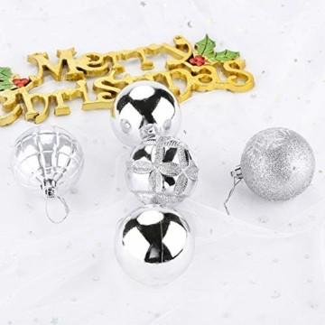Aitsite 24 Stück Christbaumkugeln Weihnachtskugeln 6 cm Wandbehang Ornamente Weihnachtsbaum Kugeln Flitter Tür Dekorationen Festival Dekore - 4