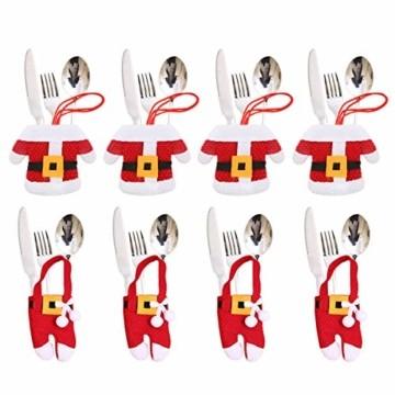 Aitsite 8 Stücke Weihnachten Besteckhalter Weihnachtsmann Tischdeko Besteckbeutel Geschirrhalter Sankt-Klage Weihnachtsdeko Dekoration Kleidung Und Hosen Besteck Für Messer Und Gabeln - 1