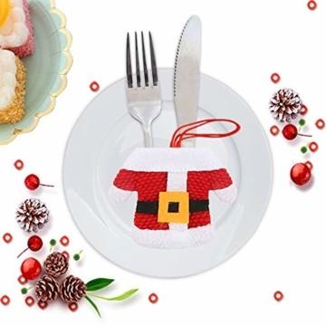 Aitsite 8 Stücke Weihnachten Besteckhalter Weihnachtsmann Tischdeko Besteckbeutel Geschirrhalter Sankt-Klage Weihnachtsdeko Dekoration Kleidung Und Hosen Besteck Für Messer Und Gabeln - 5