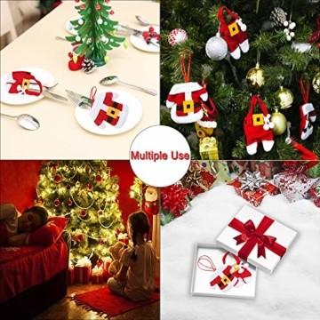 Aitsite 8 Stücke Weihnachten Besteckhalter Weihnachtsmann Tischdeko Besteckbeutel Geschirrhalter Sankt-Klage Weihnachtsdeko Dekoration Kleidung Und Hosen Besteck Für Messer Und Gabeln - 6