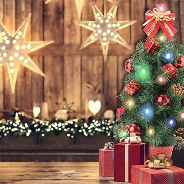 Amasava Mini Weihnachtsbaum Mini Tannenbaum mit 60 LED und 10 Rote Deko Beleuchten Tannenbaum/LED Baum Weihnachtskugel Geschenktüte Tannenzapfenwarm weiß 55CM-Rote - 2
