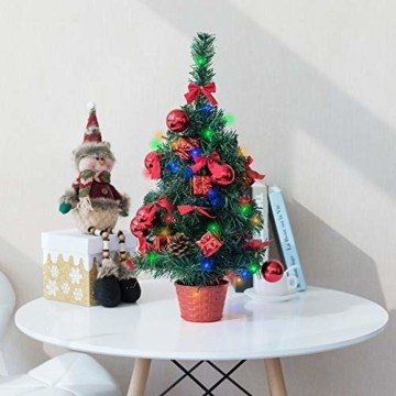 Amasava Mini Weihnachtsbaum Mini Tannenbaum mit 60 LED und 10 Rote Deko Beleuchten Tannenbaum/LED Baum Weihnachtskugel Geschenktüte Tannenzapfenwarm weiß 55CM-Rote - 11