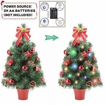 Amasava Mini Weihnachtsbaum Mini Tannenbaum mit 60 LED und 10 Rote Deko Beleuchten Tannenbaum/LED Baum Weihnachtskugel Geschenktüte Tannenzapfenwarm weiß 55CM-Rote - 4