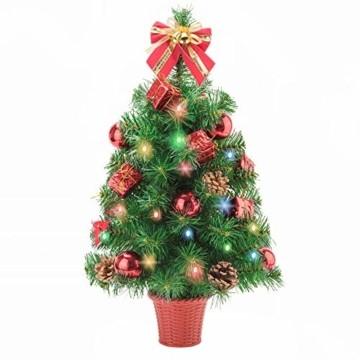 Amasava Mini Weihnachtsbaum Mini Tannenbaum mit 60 LED und 10 Rote Deko Beleuchten Tannenbaum/LED Baum Weihnachtskugel Geschenktüte Tannenzapfenwarm weiß 55CM-Rote - 1