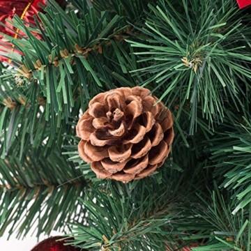 Amasava Mini Weihnachtsbaum Mini Tannenbaum mit 60 LED und 10 Rote Deko Beleuchten Tannenbaum/LED Baum Weihnachtskugel Geschenktüte Tannenzapfenwarm weiß 55CM-Rote - 6