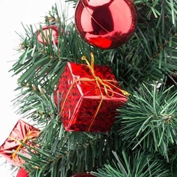 Amasava Mini Weihnachtsbaum Mini Tannenbaum mit 60 LED und 10 Rote Deko Beleuchten Tannenbaum/LED Baum Weihnachtskugel Geschenktüte Tannenzapfenwarm weiß 55CM-Rote - 7