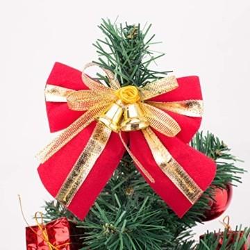 Amasava Mini Weihnachtsbaum Mini Tannenbaum mit 60 LED und 10 Rote Deko Beleuchten Tannenbaum/LED Baum Weihnachtskugel Geschenktüte Tannenzapfenwarm weiß 55CM-Rote - 8