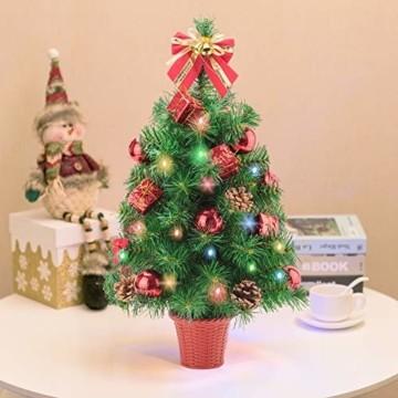 Amasava Mini Weihnachtsbaum Mini Tannenbaum mit 60 LED und 10 Rote Deko Beleuchten Tannenbaum/LED Baum Weihnachtskugel Geschenktüte Tannenzapfenwarm weiß 55CM-Rote - 9