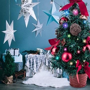Amasava Mini Weihnachtsbaum Mini Tannenbaum mit 60 LED und 10 Rote Deko Beleuchten Tannenbaum/LED Baum Weihnachtskugel Geschenktüte Tannenzapfenwarm weiß 55CM-Rote - 10