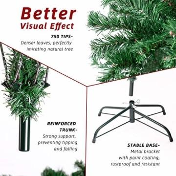 amzdeal 180cm künstlicher Weihnachtsbaum - 750 Zweige voll klappbarer Tannenbaum mit flammhemmendem Material & faltbarem Metallständer, perfekte Weihnachtsdekoration für Hause, Outdoor, Mall, Grün - 3