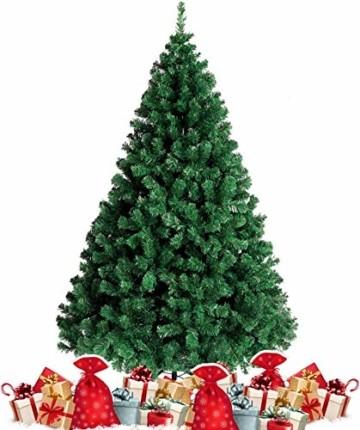 amzdeal 180cm künstlicher Weihnachtsbaum - 750 Zweige voll klappbarer Tannenbaum mit flammhemmendem Material & faltbarem Metallständer, perfekte Weihnachtsdekoration für Hause, Outdoor, Mall, Grün - 1