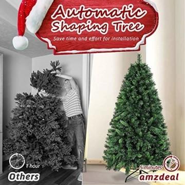 amzdeal 180cm künstlicher Weihnachtsbaum - 750 Zweige voll klappbarer Tannenbaum mit flammhemmendem Material & faltbarem Metallständer, perfekte Weihnachtsdekoration für Hause, Outdoor, Mall, Grün - 5