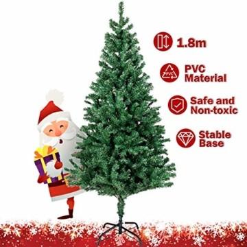 amzdeal 180cm künstlicher Weihnachtsbaum - 750 Zweige voll klappbarer Tannenbaum mit flammhemmendem Material & faltbarem Metallständer, perfekte Weihnachtsdekoration für Hause, Outdoor, Mall, Grün - 7