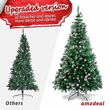 amzdeal Künstlicher Weihnachtsbaum - 180cm Tannenbaum mit Schnee 800 Spitzen und Tannenzapfen, Schnelle Montage Klappbarer Christbaum mit Metallständer für die Weihnachtsdekoration Innen & Außen - 2