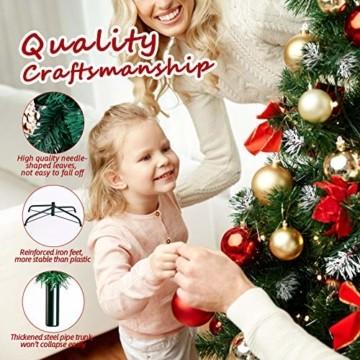 amzdeal Künstlicher Weihnachtsbaum - 180cm Tannenbaum mit Schnee 800 Spitzen und Tannenzapfen, Schnelle Montage Klappbarer Christbaum mit Metallständer für die Weihnachtsdekoration Innen & Außen - 3
