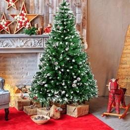 amzdeal Künstlicher Weihnachtsbaum - 180cm Tannenbaum mit Schnee 800 Spitzen und Tannenzapfen, Schnelle Montage Klappbarer Christbaum mit Metallständer für die Weihnachtsdekoration Innen & Außen - 1