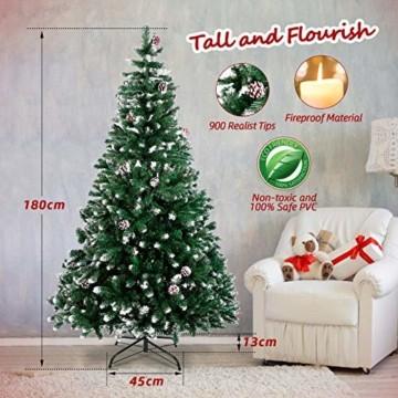 amzdeal Künstlicher Weihnachtsbaum - 180cm Tannenbaum mit Schnee 800 Spitzen und Tannenzapfen, Schnelle Montage Klappbarer Christbaum mit Metallständer für die Weihnachtsdekoration Innen & Außen - 4
