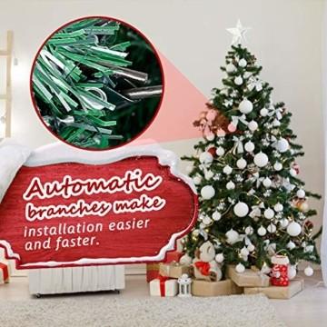 amzdeal Künstlicher Weihnachtsbaum - 180cm Tannenbaum mit Schnee 800 Spitzen und Tannenzapfen, Schnelle Montage Klappbarer Christbaum mit Metallständer für die Weihnachtsdekoration Innen & Außen - 5