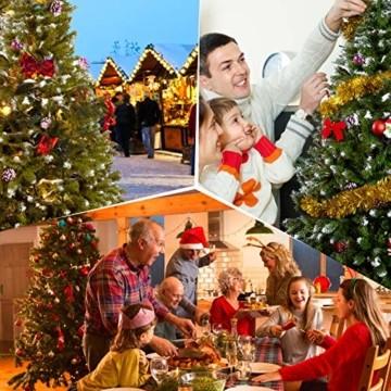 amzdeal Künstlicher Weihnachtsbaum - 180cm Tannenbaum mit Schnee 800 Spitzen und Tannenzapfen, Schnelle Montage Klappbarer Christbaum mit Metallständer für die Weihnachtsdekoration Innen & Außen - 6