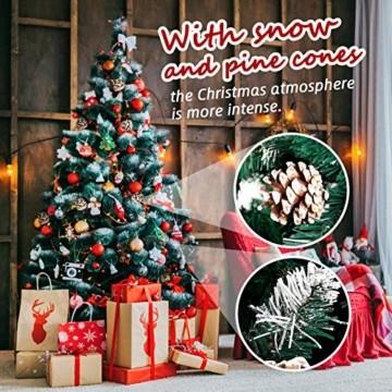 amzdeal Künstlicher Weihnachtsbaum - 180cm Tannenbaum mit Schnee 800 Spitzen und Tannenzapfen, Schnelle Montage Klappbarer Christbaum mit Metallständer für die Weihnachtsdekoration Innen & Außen - 7