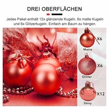 Andiker 24-Teiliges Weihnachtskugeln Weihnachtsdeko Set 6cm Chrisbaumschmuck Dekokugeln Weihnachtenaus Kunststoff, Gold, Blau, Rot,Weihnachtsbaum Deko(Rot, 6cm) - 2