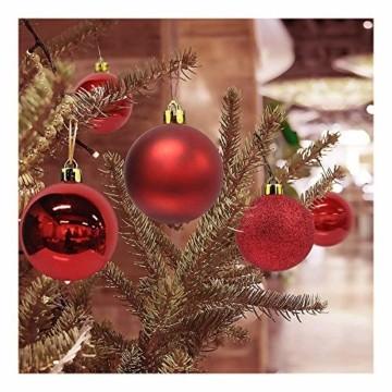 Andiker 24-Teiliges Weihnachtskugeln Weihnachtsdeko Set 6cm Chrisbaumschmuck Dekokugeln Weihnachtenaus Kunststoff, Gold, Blau, Rot,Weihnachtsbaum Deko(Rot, 6cm) - 3