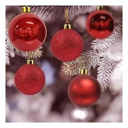 Andiker 24-Teiliges Weihnachtskugeln Weihnachtsdeko Set 6cm Chrisbaumschmuck Dekokugeln Weihnachtenaus Kunststoff, Gold, Blau, Rot,Weihnachtsbaum Deko(Rot, 6cm) - 1