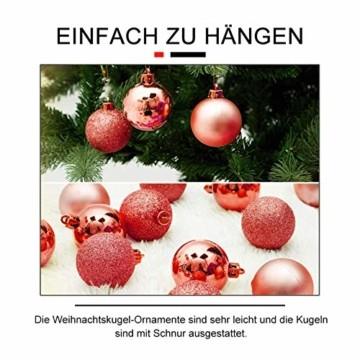 Andiker 24-Teiliges Weihnachtskugeln Weihnachtsdeko Set 6cm Chrisbaumschmuck Dekokugeln Weihnachtenaus Kunststoff, Gold, Blau, Rot,Weihnachtsbaum Deko(Rot, 6cm) - 4