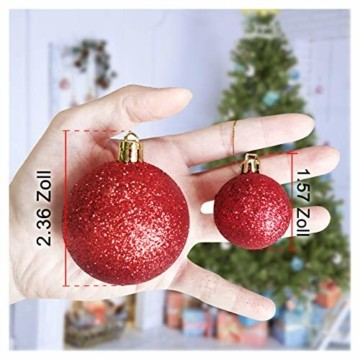Andiker 24-Teiliges Weihnachtskugeln Weihnachtsdeko Set 6cm Chrisbaumschmuck Dekokugeln Weihnachtenaus Kunststoff, Gold, Blau, Rot,Weihnachtsbaum Deko(Rot, 6cm) - 5
