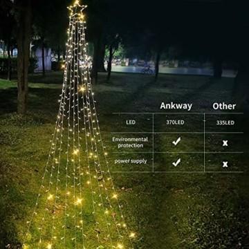 Ankway Solar Weihnachtslichter, 370 LED 8 Modi LED Solar Lichterkette Außen IP67 Wasserdichte Solar Lichterkette Aussen Dekoration für Gärten,Bäume,Garten, Balkon,Hochzeiten,Partys(Warmweiß) - 2