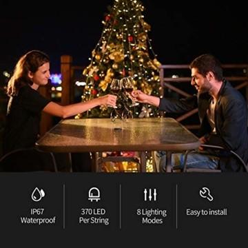 Ankway Solar Weihnachtslichter, 370 LED 8 Modi LED Solar Lichterkette Außen IP67 Wasserdichte Solar Lichterkette Aussen Dekoration für Gärten,Bäume,Garten, Balkon,Hochzeiten,Partys(Warmweiß) - 3