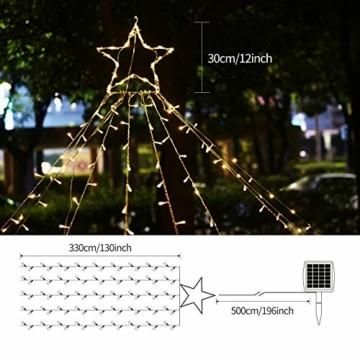 Ankway Solar Weihnachtslichter, 370 LED 8 Modi LED Solar Lichterkette Außen IP67 Wasserdichte Solar Lichterkette Aussen Dekoration für Gärten,Bäume,Garten, Balkon,Hochzeiten,Partys(Warmweiß) - 6